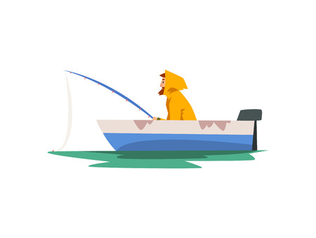 Fisherman Fishing with Rod in Motor Boat, Fishman Character in Raincoat and Rubber Boots Vector Illustration on White Background.