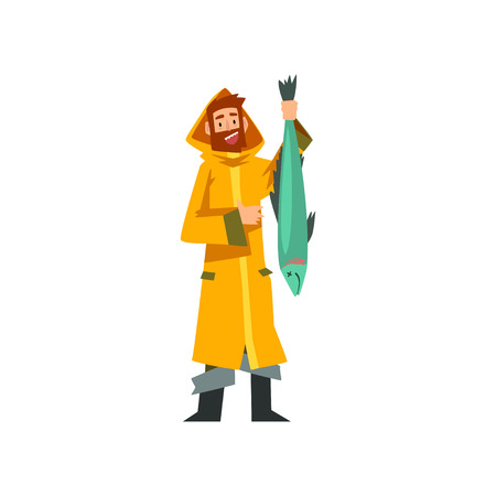 Fisherman Caught Big Fish, Fishman Character in Raincoat and Rubber Boots Vector Illustration on White Background. Vectores