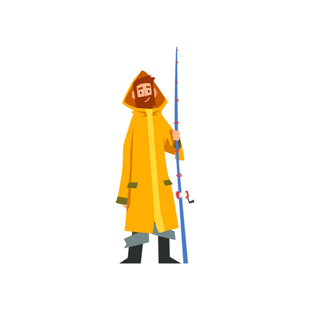 Fisherman Standing with Fishing Rod, Fishman Character in Raincoat and Rubber Boots Vector Illustration on White Background.