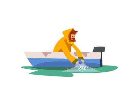 Fisherman Sitting in Boat with Fishing with Net, Fishman Character Wearing Raincoat Vector Illustration on White Background.