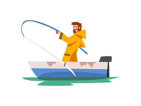 Fisherman Sitting in Boat and Pulling Big Fish, Fishman Character in Raincoat and Rubber Boots Vector Illustration on White Background. Illustration