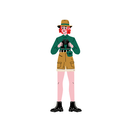 Female Explorer Character in Safari Clothes with Binoculars Vector Illustration on White Background. Çizim