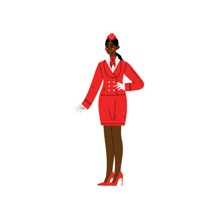 African American Stewardess Character Wearing Red Uniform Vector Illustration Banque d'images - 120442383