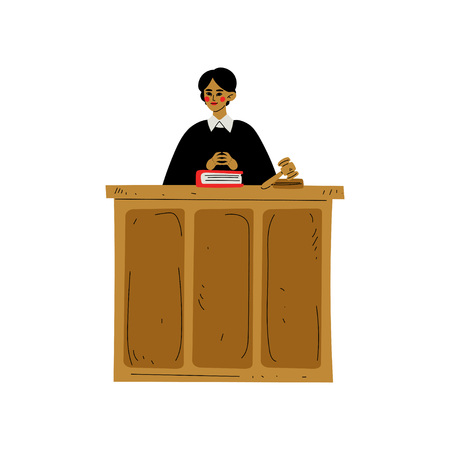 Female Judge Character Presiding over Court Proceeding in Courthouse Vector Illustration on White Background.