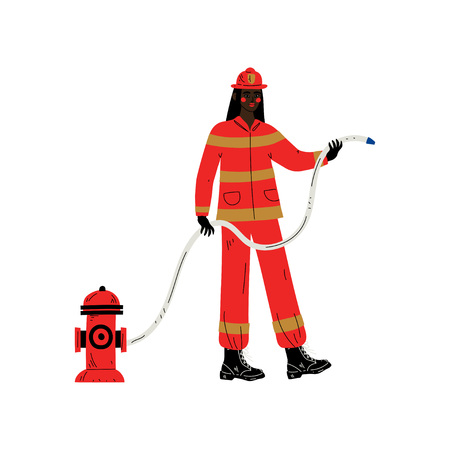 Female Firefighter Character in Red Uniform and Protective Helmet Vector Illustration Stockfoto - 120442384