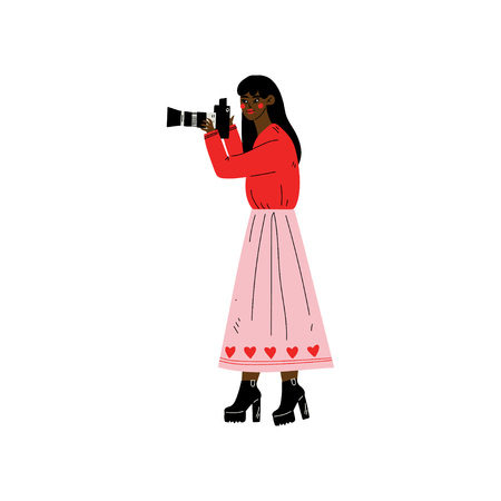 African American Woman Taking Photos with Digital Camera, Female Photographer Character Making Picture Vector Illustration on White Background. Standard-Bild - 120374011