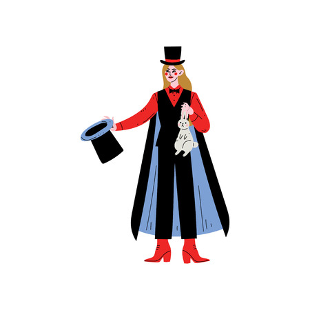 Female Magician Character Holding Top Hat and Rabbit Vector Illustration on White Background.