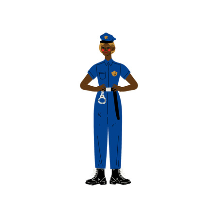 African American Woman Police Officer Character Wearing Uniform Vector Illustration on White Background.