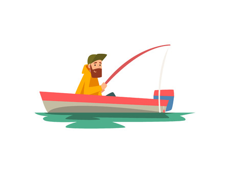 Bearded Fisherman Sitting in Boat with Fishing Rod, Fishman Character Wearing Raincoat Vector Illustration on White Background.
