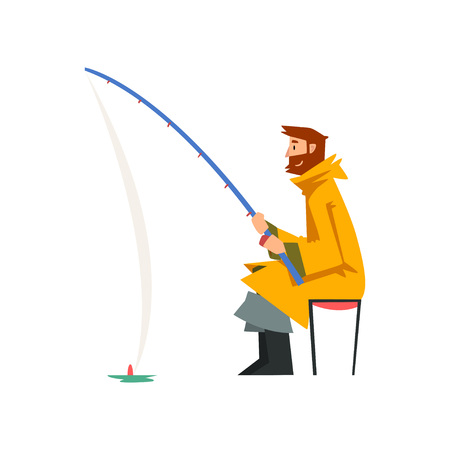 Fisherman Sitting on Shore with Fishing Rod, Fishman Character Wearing Raincoat and Rubber Boots Vector Illustration on White Background. Illustration