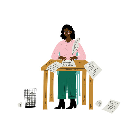 African American Female Writer or Poetess Character Sitting at Desk and Writing with Feather Pen Vector Illustration on White Background. 일러스트