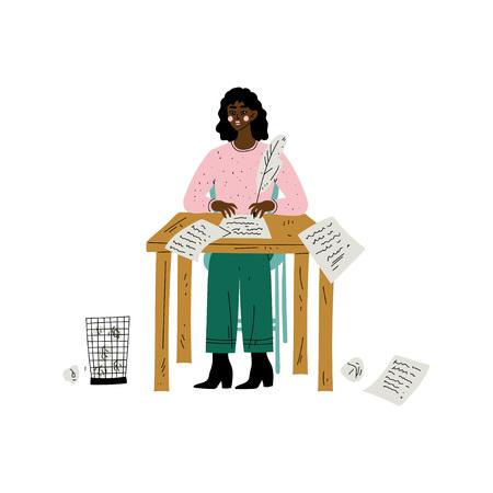 Afro-Amerikaanse vrouwelijke schrijver of dichter karakter zittend aan een bureau en schrijven met Feather Pen vectorillustratie op witte achtergrond.
