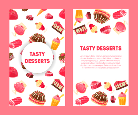 Delicious Desserts and Pastries Banners Set with Place for Text, Confectionery, Candy Shop Design Element Vector Illustration