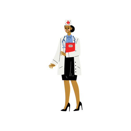 Female Doctor or Nurse Character, Young Woman Weaing White Coat and Cap Standiing with Stethoscope and Clipboard Vector Illustration on White Background.