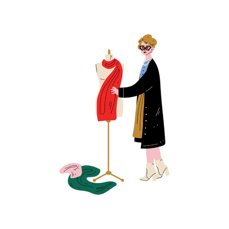 Female Tailor Character Sewing Dress on Dressmakers Dummy. Vector Illustration on White Background.