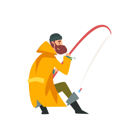 Fisherman Throwing Fishing Rod Into Water, Fishman Character Wearing Raincoat and Rubber Boots Vector Illustration on White Background.