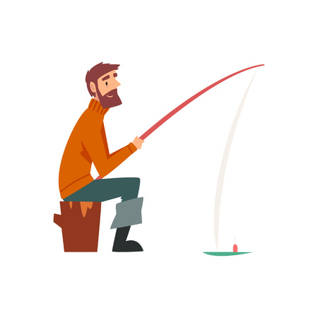 Bearded Fisherman Character Sitting on Shore with Fishing Rod Vector Illustration on White Background.