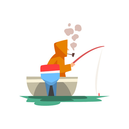 Fisherman Sitting in Boat with Fishing Rod, Fishman Character Wearing Raincoat Smoking Pipe Vector Illustration on White Background.