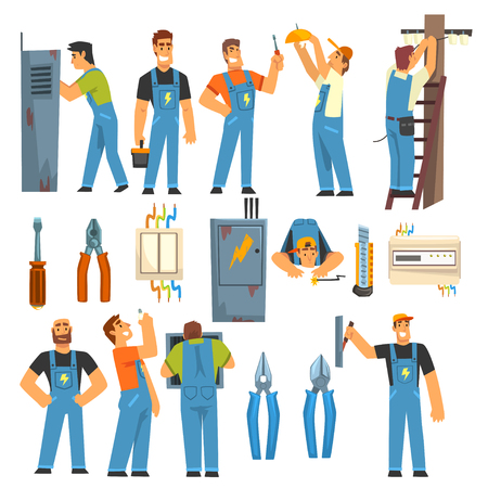 Ingegneri elettricisti con set di strumenti per elettricisti professionisti, personaggi di uomini elettrici in tuta blu al lavoro illustrazione vettoriale su sfondo bianco. Vettoriali