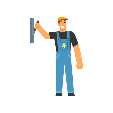 Professional Electrician with Power Switch, Electric Man Character in Blue Overalls at Work Vector Illustration on White Background. Standard-Bild - 120382525