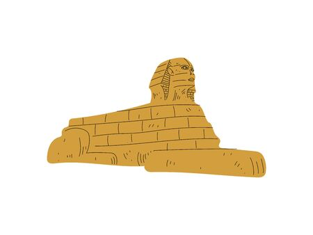 Egyptian Sphinx Statue, Symbol of Traditional Egyptian Culture Vector Illustration