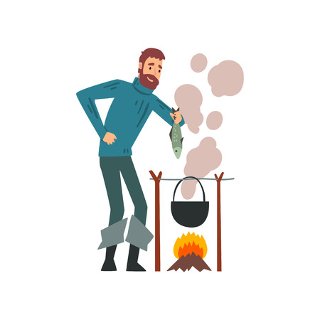 Fisherman Cooking Fish Soup in Cauldron Over Bonfire, Bearded Fishman Character Vector Illustration on White Background. Vectores