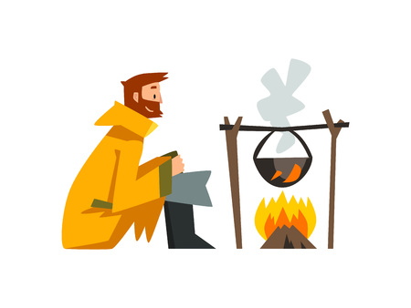 Fisherman Cooking Fish Soup in Cauldron Over Bonfire, Bearded Fishman Character in Raincoat and Rubber Boots Vector Illustration on White Background.