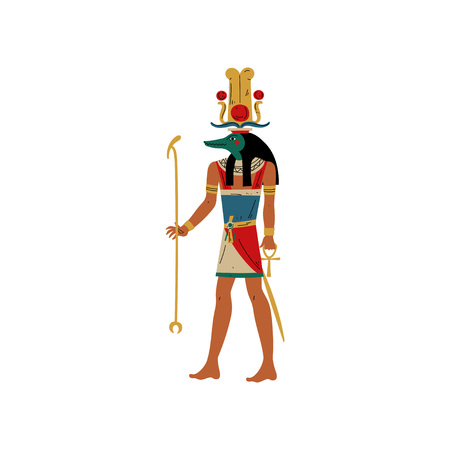 Seb, God of Water and Flood of Nile with Head of Crocodile, Symbol of Ancient Egyptian Culture Vector Illustration on White Background. Illustration