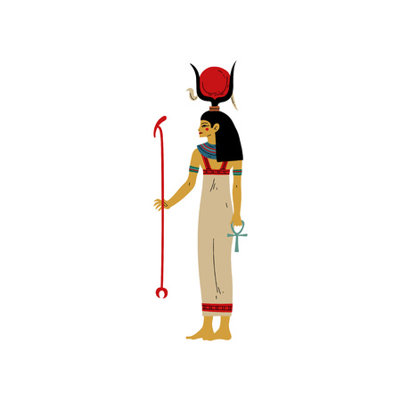 Hathor Goddes of Love, Beauty and Art, Symbol of Ancient Egyptian Culture Vector Illustration on White Background. Illustration