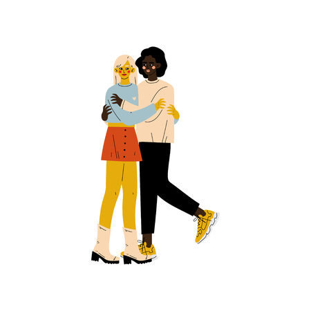 Happy Interracial Lesbian Couple, Two Hugging Women, Romantic Homosexual Relationship Vector Illustration  イラスト・ベクター素材