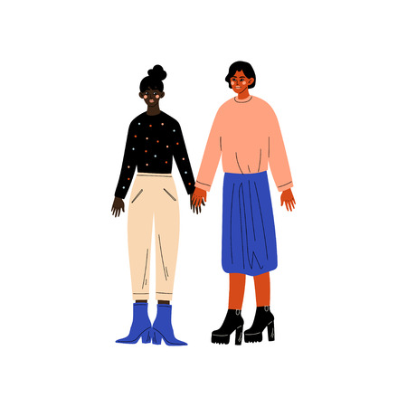 Happy Lesbian Couple, Two Women Holding Hands, Romantic Homosexual Relationship Vector Illustration Ilustracja