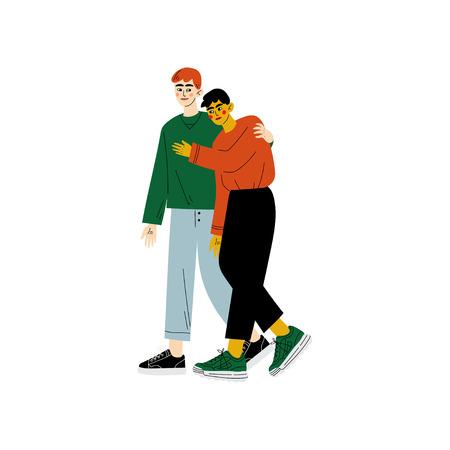Happy Gay Couple, Two Men Hugging, Romantic Homosexual Relationship Vector Illustration
