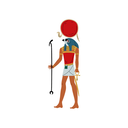 Ra, God of Sun, Symbol of Ancient Egyptian Culture Vector Illustration on White Background.