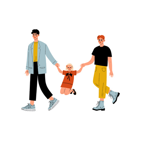 Non Traditional Male Homosexual Family Couple and Their Little Daughter, Gay Parents with Kid Vector Illustration Ilustracja