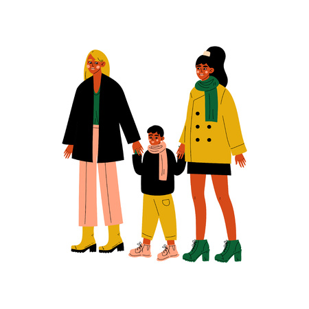 Lesbian Family, Two Women and Cute Boy Standing Together, Happy Homosexual Family with Kid Vector Illustration Illustration
