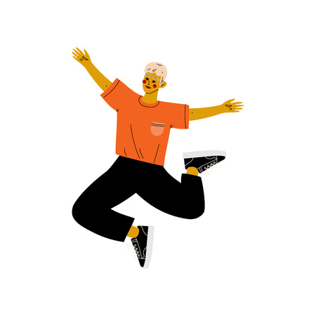 Happy Young Man in Casual Clothes Jumping Celebrating Important Event, Dance Party, Friendship, Sport Concept Vector Illustration on White Background.