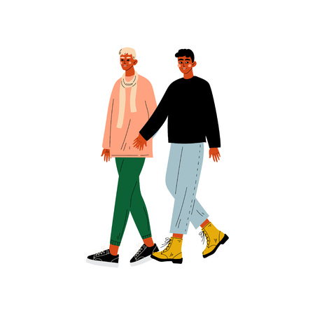 Happy Gay Male Couple, Two Men Holding Hands, Romantic Homosexual Relationship Vector Illustration