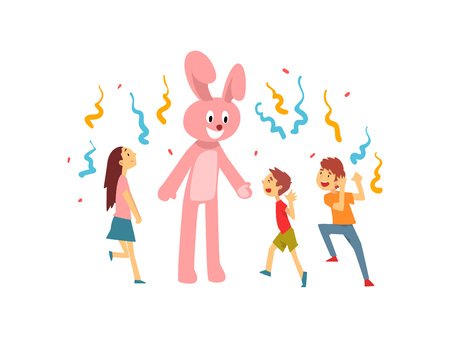 Cute Boys and Girl Celebrating Kids Party, Happy Children Having Fun with Animator in Rabbit Costume at Birthday or Carnival Party Vector Illustration on White Background. Stock Vector - 123863827