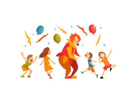 Cute Boys and Girl Celebrating Kids Party, Happy Children Having Fun with Clown at Birthday, Carnival Party or Circus Performance Vector Illustration on White Background. Illustration