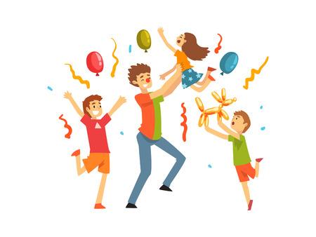Enfants mignons célébrant la fête, enfants heureux s'amusant avec le clown à l'anniversaire, à la fête du carnaval ou à l'illustration vectorielle de cirque sur fond blanc.
