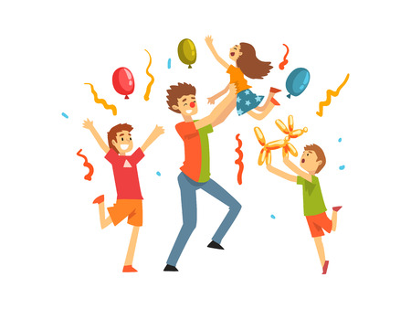 Cute Kids Celebrating Party, Happy Children Having Fun with Clown at Birthday, Carnival Party or Circus Performance Vector Illustration on White Background.