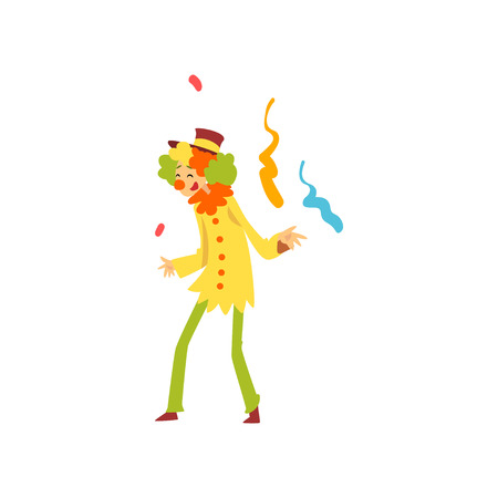 Cute Funny Clown Performing at Birthday, Carnival Party or Circus Show Vector Illustration on White Background. Stock Vector - 123863831