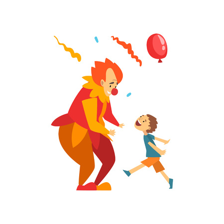 Cute Boy Having Fun with Clown at Birthday, Carnival Party or Circus Performance Vector Illustration on White Background.