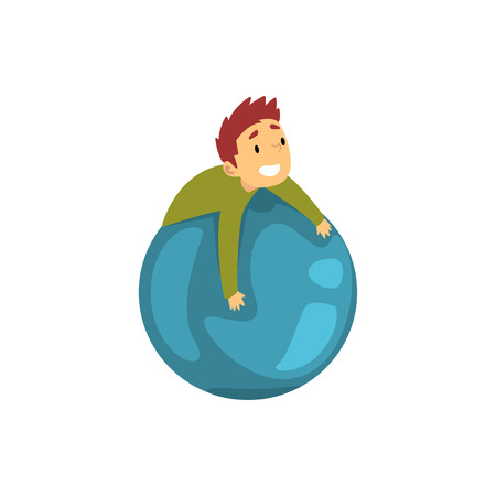 Boy Having Fun with Big Inflatable Ball, Kid Having Fun at Birthday, Carnival Party or Circus Performance Vector Illustration on White Background.