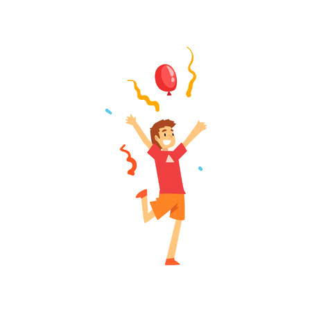 Smiling Boy Having Fun at Birthday, Carnival Party or Circus Performance Vector Illustration on White Background.