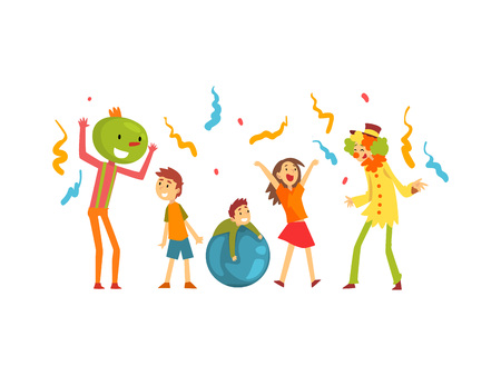 Cute Boys and Girl Celebrating Kids Party, Happy Children Having Fun at Birthday, Carnival Party or Circus Performance Vector Illustration on White Background.