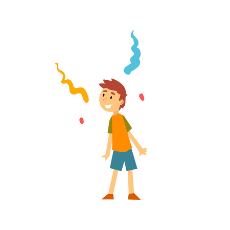 Cute Boy at Kids Party, Happy Child Having Fun at Birthday, Carnival Party or Circus Performance Vector Illustration on White Background.