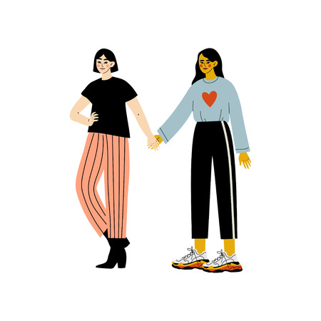 Happy Lesbian Female Couple, Two Girls Holding Hands, Romantic Homosexual Relationship Vector Illustration Illustration