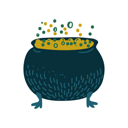 Witch Cauldron with Boiling Potion, Magic Object, Witchcraft Attribute Vector Illustration on White Background.