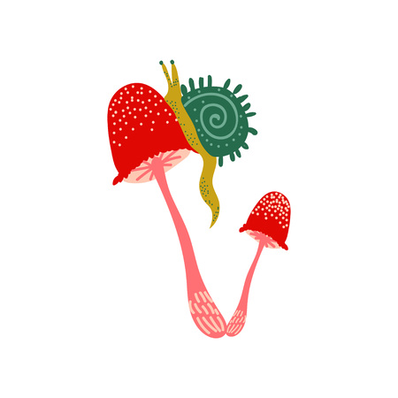 Amanita Muscaria Mushroom with Snail, Fly Agaric Vector Illustration on White Background.